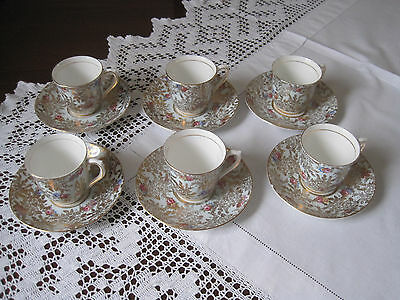 Set Of Six Beautiful Vintage Colclough Blue Chintz Demitasse Cups And Saucers