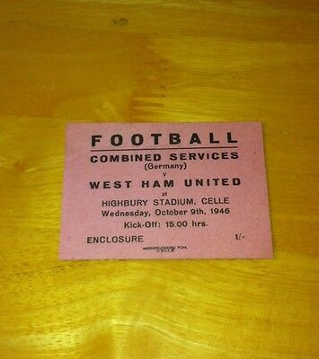 RARE 1946-47 COMBINED SERVICES GERMANY v WEST HAM UNITED PRACTICE MATCH TICKET
