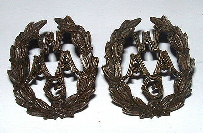WAAC V RARE Bz OFFICERS COLLAR BADGES