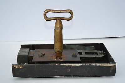 Huge Antique Iron/brass Door Rim Mortise Box Lock W. Original Huge Skeleton Key