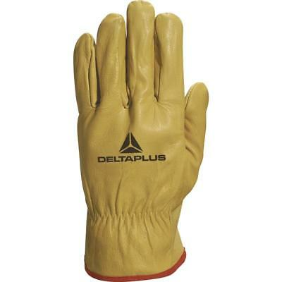 Delta Plus FBJA49 Cow Hide Leather Work Gloves Fork Lift Truck Machine Builders