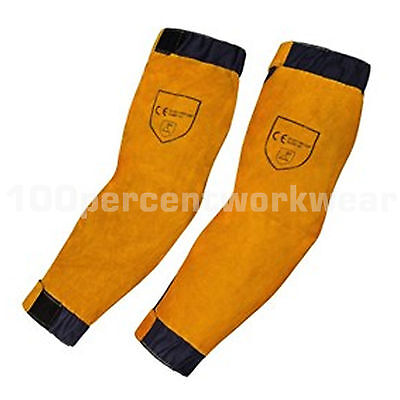 1 x Pair RHINOweld Heavy Duty Tan Leather Welding Welders Sleeve Protection 51cm