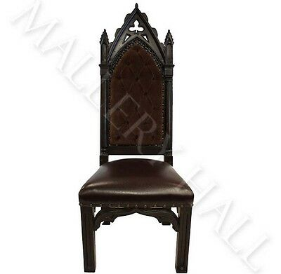 Gothic Crocodile Carved Back Tall Dining Chairs