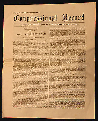 Original 1939 Congressional Record Speech Frederick Hale London Naval Treaty