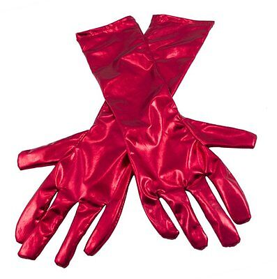 Gloves Metallic Red 20s 30s 50s Fancy Dress Accessory