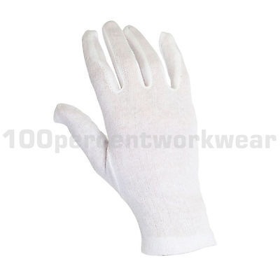 12 Pairs Warrior Mens High Quality Bleached White 100% Cotton Work Gloves New