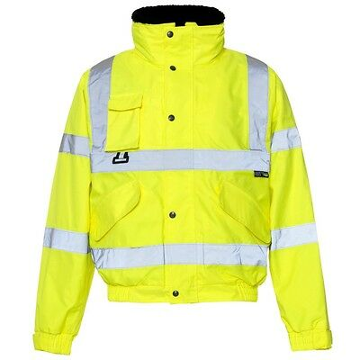 Supertouch Yellow Hi Vis High Visibility Breathable 2 in 1 Bomber Jacket Coat