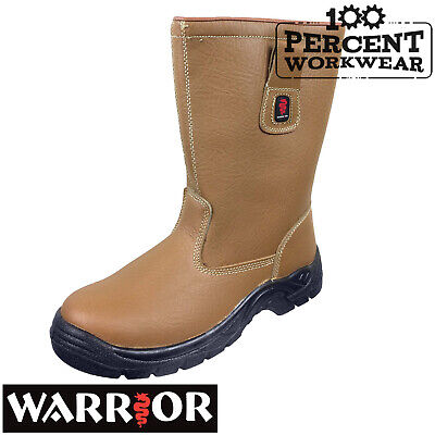 Pro Heavy Duty Builders Farmers Tradesman Tan Leather Rigger Work Safety Boots