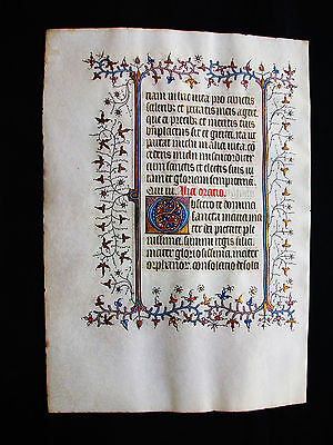 "1370 Medieval Vellum, AMAZING Latin Leaf ""GOLD RAMIFICATIONS"" Book of Hours..B29"