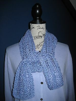Hand Knit Scarf Lavender Tweed  Cotton Blend 4  X 74 Lightweight Lacy Scarf