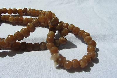 Vintage Hand Carved Brown Onyx Berber Moroccan Bead Necklace
