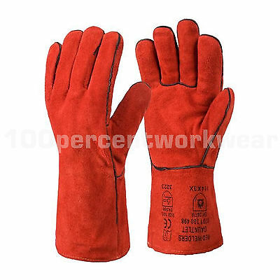 RHINOtec Superior Red Leather Welding Welders Gauntlet Gloves Wood Burner Stove