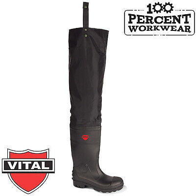 VITAL VW164 Avon Thigh Waders Black Steel Toe Wader PVC Wellington Boots Fishing
