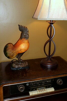 Rooster Lamp Andrea by Sadek Art Glass Rooster Lamp Marble Bronzed Tin Chi 1997