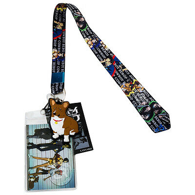 Cowboy Bebop Spike Group Lanyard ID Badge Holder & PVC Ein Dog Charm Licensed