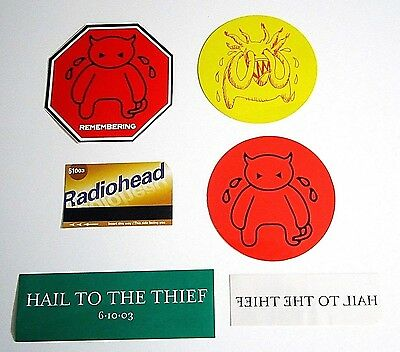 Radiohead ~ Lot 4 Stickers And 1 Temporary Tattoo And 1 Subway Promo Card