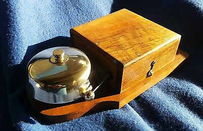 Antique Vintage Old Wooden Electric Door Railway Butler Alarm Bell Wood Brass