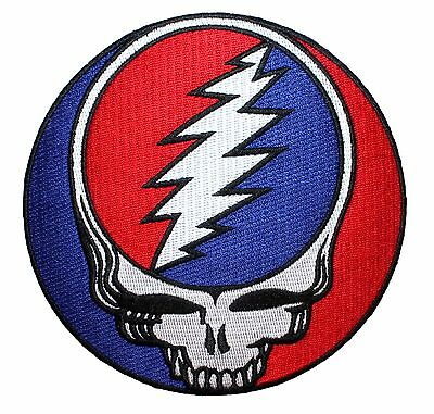 """Grateful Dead 5"""" Steal Your Face Skull & Lightning Logo Iron On Applique Patch"""