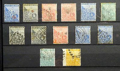 13 x Griqualand West 1877-79 Overprinted stamps on card.