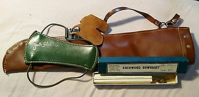 Vintage Archers Lot Sherwood Bowsite, Quiver and Leather Bracer