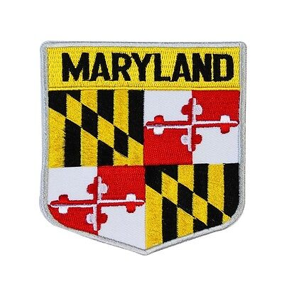 """State Flag Shield """"Maryland"""" Iron-On Badge Patch Travel USA Souvenir Applique"""