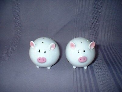 Round Pig Roly Poly Pigs Piggies Salt Pepper Shakers ~ Adorable ~  Vgc