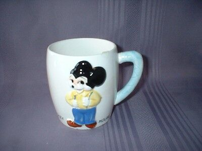 Vintage Walt Disney Productions Mickey Mouse Embossed Coffee Mug ~ Japan ~ Vgc