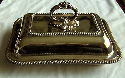Antique Silver Plate Rectangular Entree Dish and Lid by A Clarke c. 1912 SP10.5""