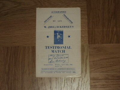 Testimonial Football Programme Bill Eckersley Blackburn Rovers 24.4.61