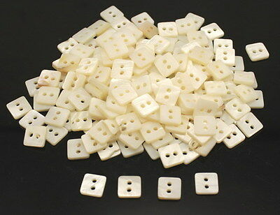 100pcs 10*10mm WHITE REAL PEARL SHELL BUTTON WITH RIM MOP MOTHER OF PEARL B-130