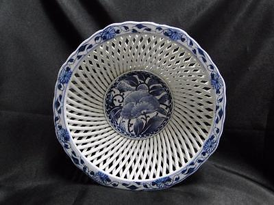 """White Reticulated Bowl w/ Cobalt Blue Floral Center and Edge, 8 3/4"""" x 3"""" Tall"""