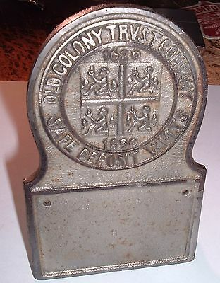 Antique Cast Iron OLD COLONY TRUST co. SAFE DEPOSIT VAULTS Boston 1620-1890