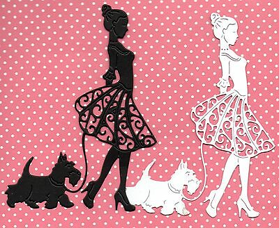 New Tattered Lace Lady Walking Scotty Dog Die Cuts -Christmas/girl Silhouette