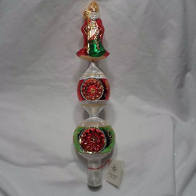 """Radko 2002 """"BISHOP'S GIFTS FINIAL"""" RARE Double Reflector Finial NEW w/Tag & Box"""