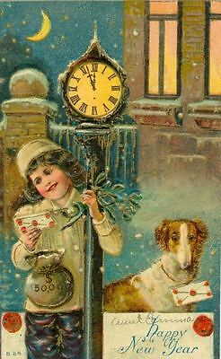 Vintage Postcard PC Embossed Happy New Year Borzoi Dogs