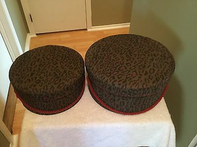Hat Boxes Leopard Pattern Set Of 2 Boxes In 2 Different Sizes + Red Color Inside