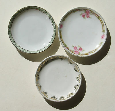 3 Butter Pats KPM Germany Z. S. Co. Bavaria Heinrich China Vintage Round