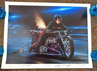 Kenny Youngblood Signed Elmer Trett Lithograph Worlds Fastest Drag Bike 200 Mph