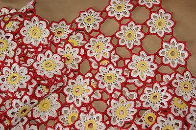 Lot of 2 Vtg Floral Lace Crochet Cotton Red Yellow White Daisies Doily Floral
