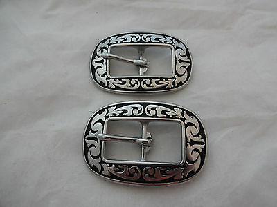 """Pair Jeremiah Watt Oval Floral Buckles 5/8"""" Black Headstall Horse Tack Stainless"""
