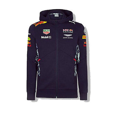 Red Bull Racing Mens Team Hooded Sweat Jacket Formula 1 Sizes S M L Xl 2Xl