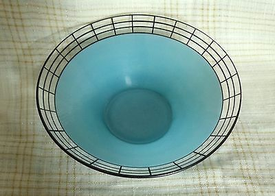 Vintage West Virginia Glass Co. Large Eames Era Sky Blue Glass bowl