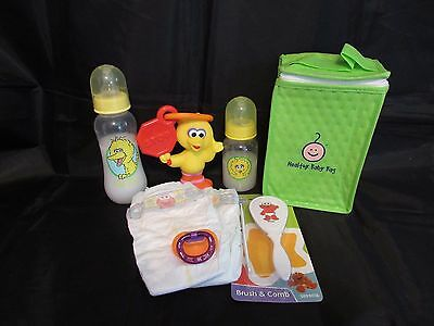 Reborn baby Grab & Go Complete Diaper bag doll bottles rattle magnetic pacifier