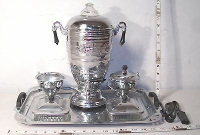 Forman Bros. Art Deco Chrome Six Piece Formal Samovar Coffee Service Set