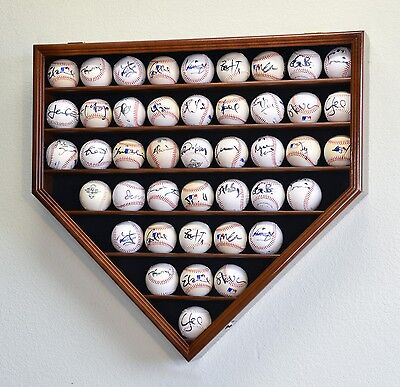 43 Baseball Ball Display Case Cabinet Holder Rack Home Plate Shaped w/98% UV Pro