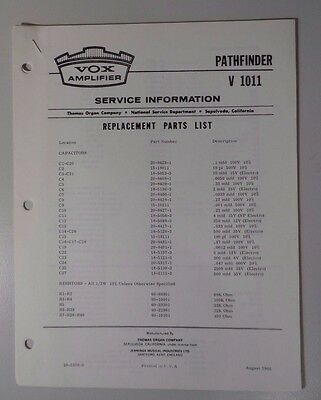 Original Vox Amplifier - Pathfinder V1011 - Service Information