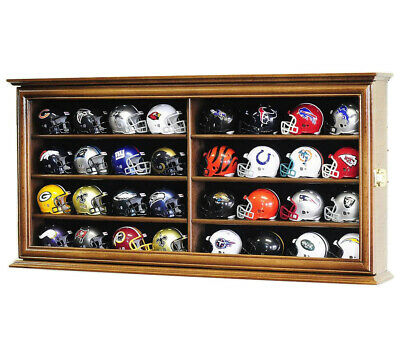 32 Pocket Pro NFL Mini Helmet Helmets Display Case Wall Cabinet 2 SIDES- Locks