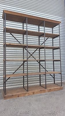 New French Industrial Recycled Vintage Rustic Bookcase Shelf Display (V-15)