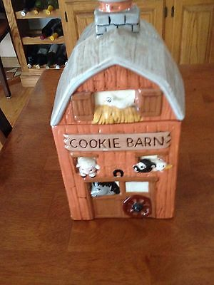 Ceramic Barn Cookie Jar Vintage Look Barn Red