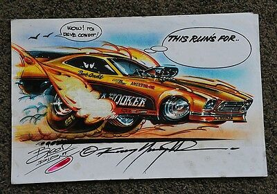 Original Cartoon Kenny Youngblood Signed La Hooker Funny Car Dave Condit